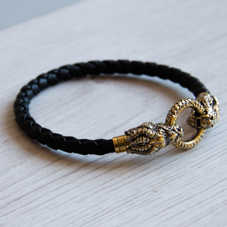 Gold plated silver bracelet with dragons for men, Man bracelet, Anniversary  gift