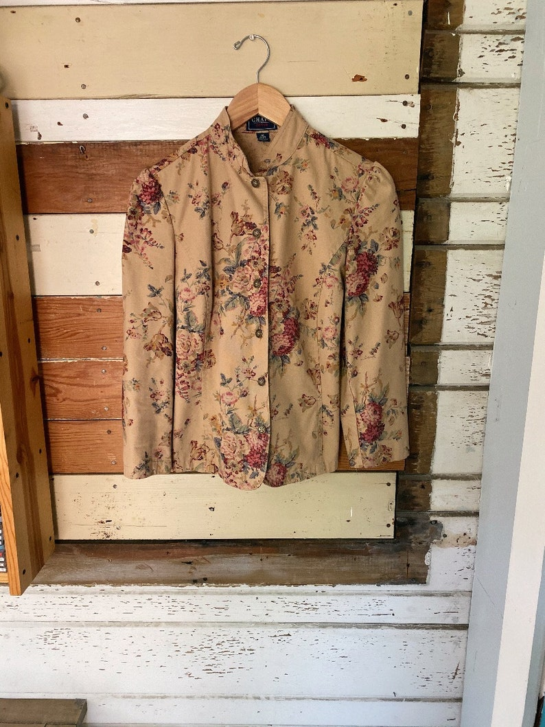 Vintage Victorian Style Botanical Print Puff Shoulder Stand Collar Jacket