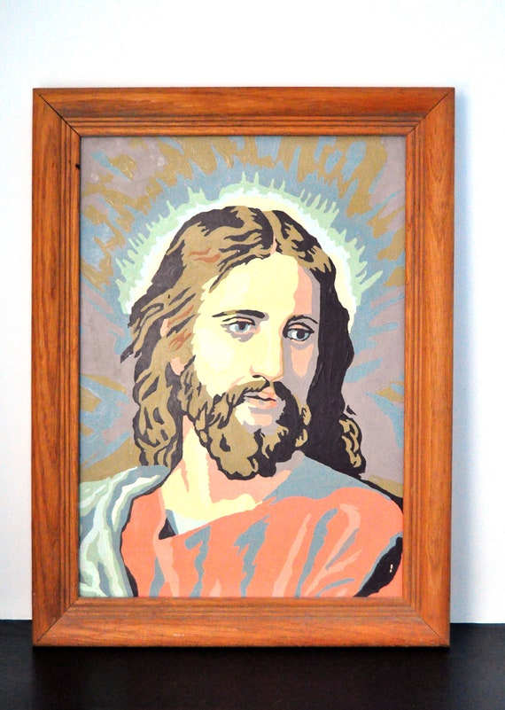 Vintage Jesus Paint by Number Picture, Framed 12 x 16