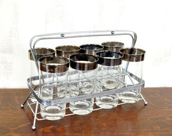 Vintage Silver Banded Glasses with Carrier, Mid-Century Glassware, Highball Glasses, Barware, Water Tumblers