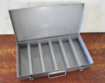 Vintage Gray Metal Slide Storage Box , Photographic Slides Organization , Industrial Metal Box