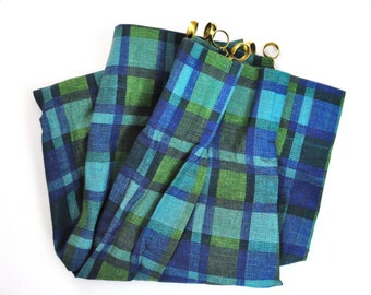 Vintage Blue and Green Plaid Curtain Panels