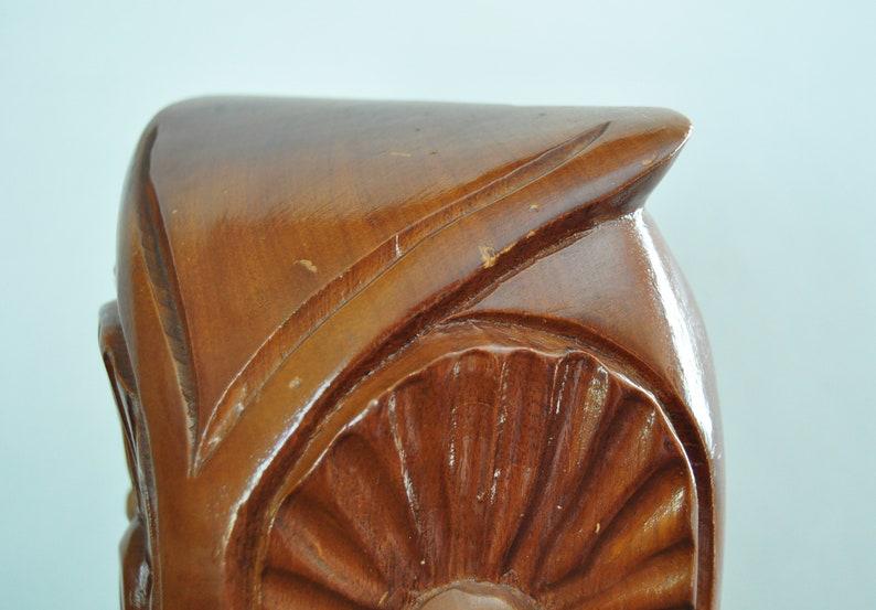 Large Vintage MCM Wooden Owl Sculpture