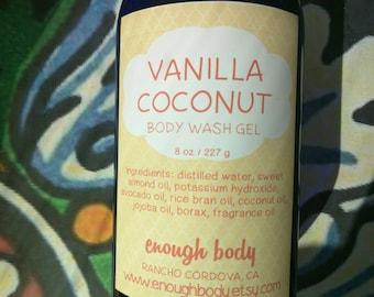Vanilla Coconut Body Wash Gel ~ Shower Gel ~ Liquid Body Soap ~ Body Shampoo