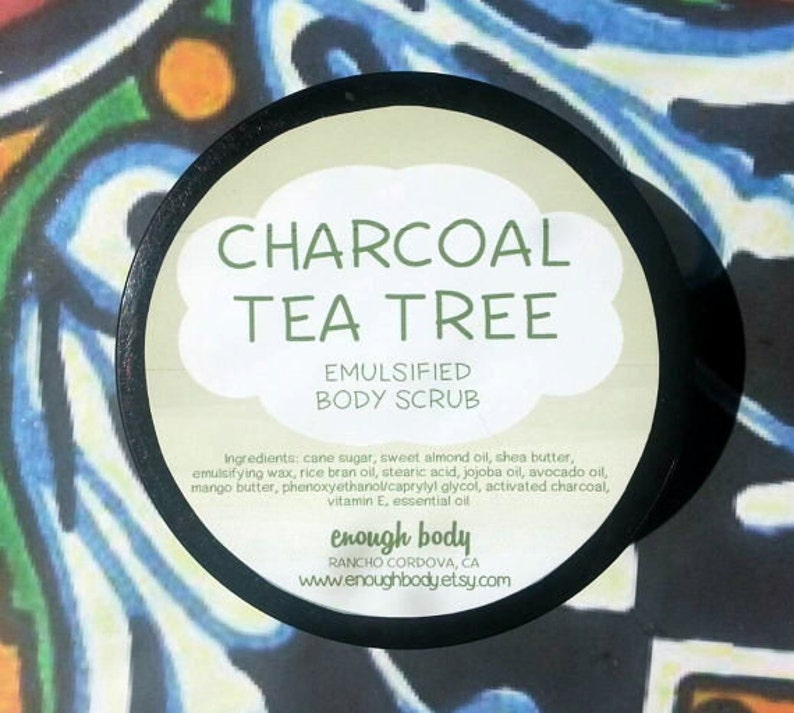 Activated Charcoal Tea Tree Emulsified Sugar Scrub ~ Body Scrub ~  Exfoliating Scrub ~ Body Polish