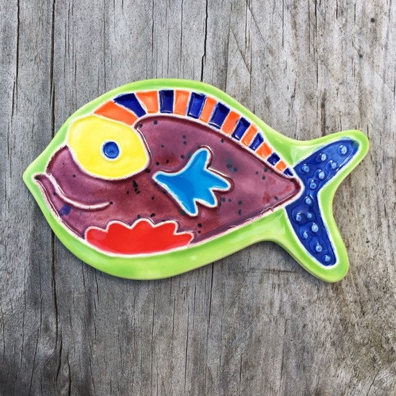 Hand Made Ceramic Blue Purple and Yellow Fish Beach House Fridge Magnet Perfect Friends Gift Home Decor Colorful Original Fish