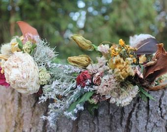 custom bridal crown, rust orange bridal crown, dark neutral flower crown, magnolia crown, amber flower crown, mustard flower crown, zinnia