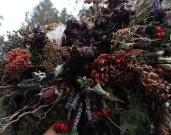 HALLOWEEN SPECIAL, dried flowers, elope, Halloween wedding flowers, Halloween elopement, dried bridal bouquet, moody flowers, orange, black