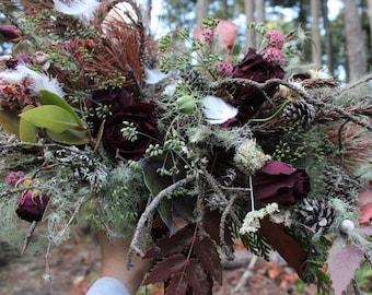 dried flower bouquet, burgundy dried flower bouquet, dark purple bouquet, burgundy bouquet, red bouquet, woodland bouquet, cabin wedding