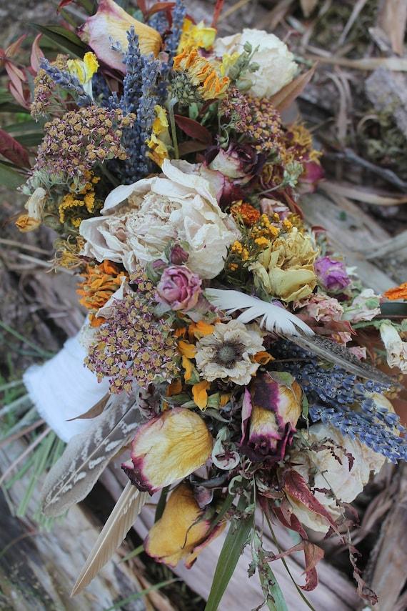 dried flower bouquet dried bridal bouquet orange bridal | Etsy