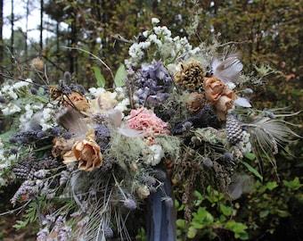 dried flower bouquet, dried bridal bouquet, quail egg bouquet, bird nest bouquet, blue bridal bouquet, woodland bouquet, foraged bouquet