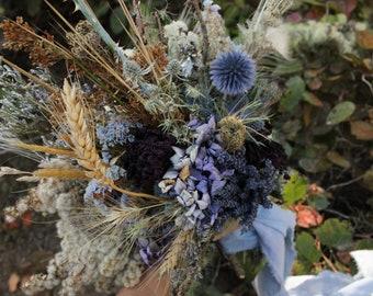 Bridesmaid Wisp Bouquet, dried flower bouquet, dried flower nosegay, lavender bouquet, bridesmaid bouquet, rustic bouquet, thistle bouquet