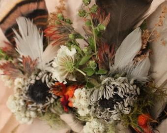 Custom boutonniere,feathet boutonniere, rust orange boutonniere, Montana wedding, elopement flowers, rustic wedding, lichen, turkey feather