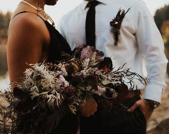dried flower bouquet, dried purple bridal bouquet, black bridal bouquet, dark bridal bouquet, halloween bouquet, moody bouquet, elopement