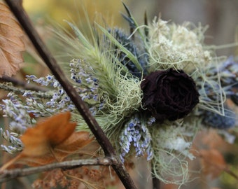Custom mini floral comb, bridal flower comb, dried flower comb, purple flower comb, blue flower comb, love in a mist, lavender comb, blush