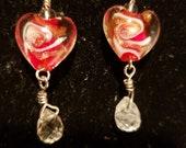Heart Shaped Glass Pendant drop Earrings with Cut Crystal Tear Drop