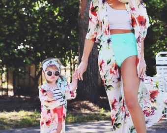 Mommy and Me Kimono Set (white chiffon with colorful florals)