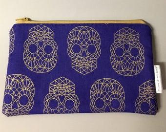Tête de mort or bleu Royal géométrique crayon cas / Make Up Bag