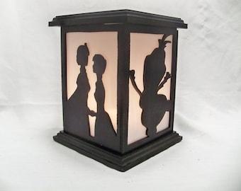 Frozen wooden lantern