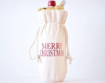 Merry Christmas Wine Bag Hostess Gift Wine Bag Holiday Wine Bag Custom Wine Tote Bag Personalized Wine Bag Thank You Gift Holiday Gift Wine