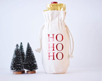 Ho Ho Ho Wine Bag Hostess Gift Wine Bag Christmas Wine Bag Holiday Wine Tote Bag Personalized Wine Bag Thank You Gift Holiday Gift