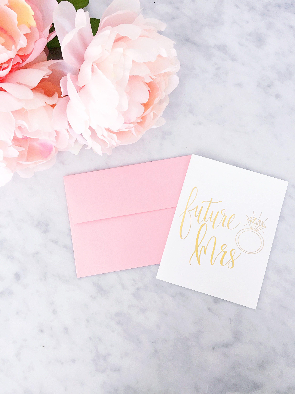 Gold Foil Future Mrs. Card Gold Foil Card Calligraphy Foil   Etsy