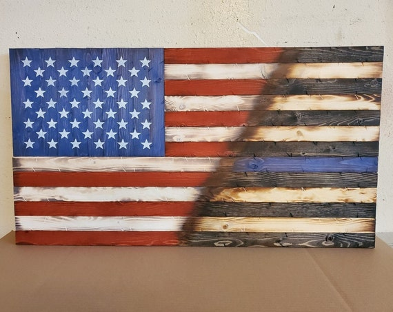 """Wooden Rustic Style Split American Flag / Thin Line Flag (20""""x38"""")"""
