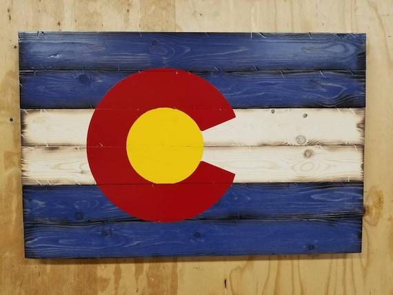 Wooden Rustic-Style Colorado Flag