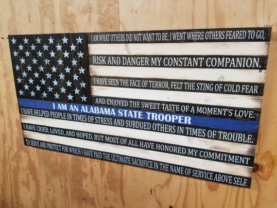 "Wooden Rustic ""I am a...."" American Flag w/ Veteran's Creed"