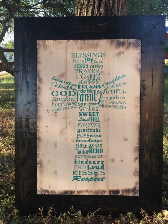 Family Blessings Word Cross Collage