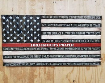 Firefighter's Prayer Thin Red Line American Flag