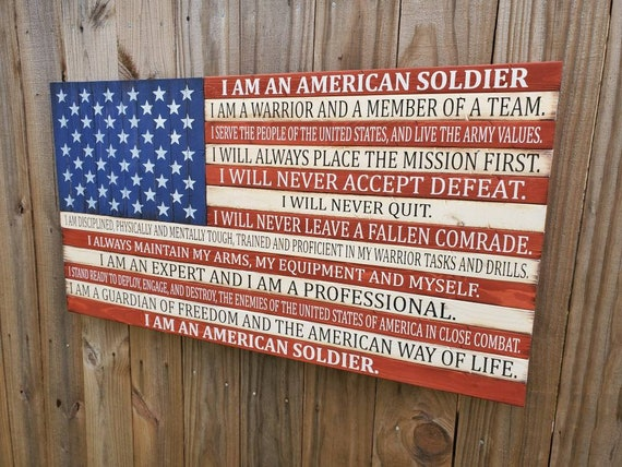 American Flag with Soldier's Creed | Wooden USA Flag | Gift for Veteran | Gift for Soldier | Rustic American Flag