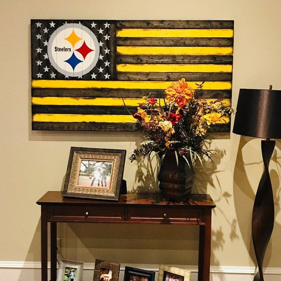 Wooden Rustic-Style Pittsburgh Steelers American Flag