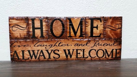 Home  Always Welcome sign