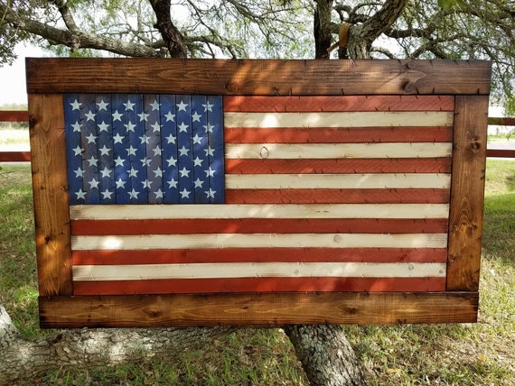 Framed American Flag | Wooden American Flag | Man Cave Decor | USA Flag Decor | Rustic American Flag