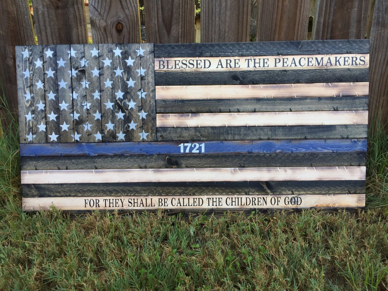 American Flag Wooden *Hand Carved Stars*Blue Line Police With Verse