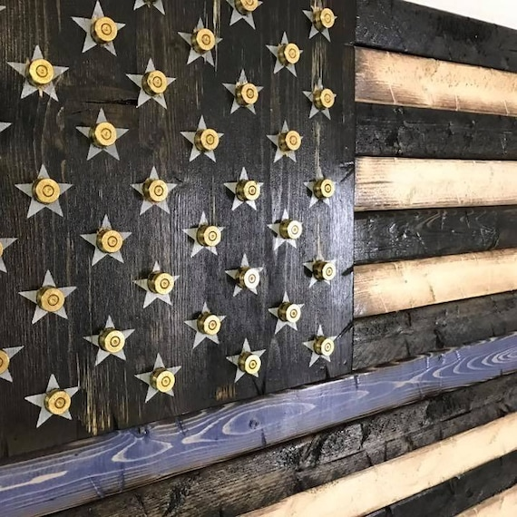 Rustic Wooden Thin Line American Flag with Shell Casings, Bullet Casings flag, Thin Blue Line Flag, Thin Red Line Flag, Gift for police