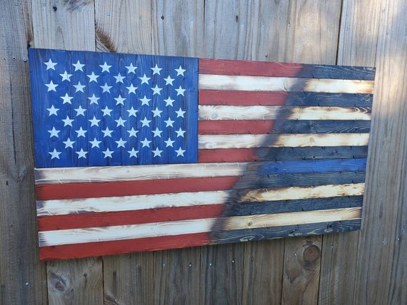 "Wooden Rustic Style Split American Flag / Thin Line Flag (20""x38"")"