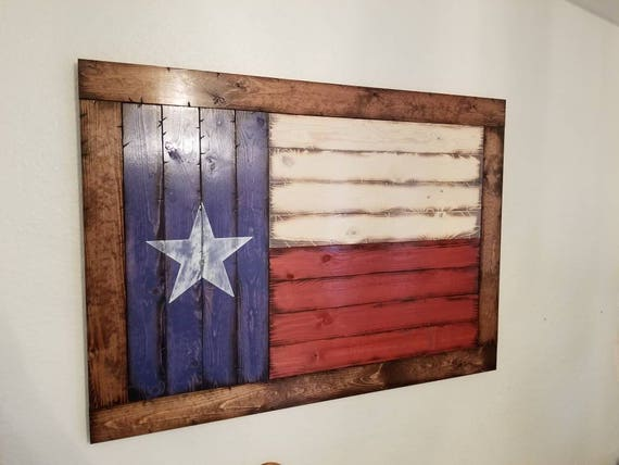 Framed Wooden Rustic-Style Texas Flag