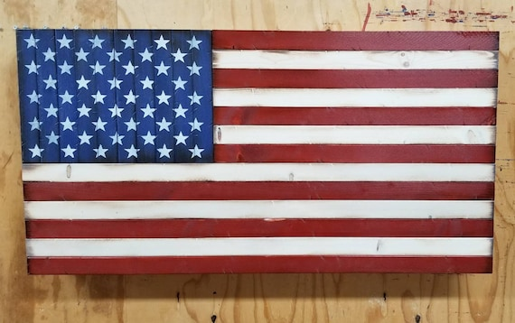 """Wooden American Flag with Hidden Concealment Compartment (19""""x37"""")"""