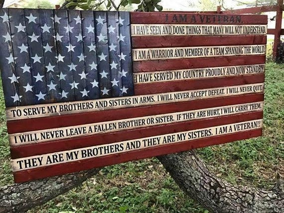 Wooden Rustic-Style American Flag w/ Veteran's Creed
