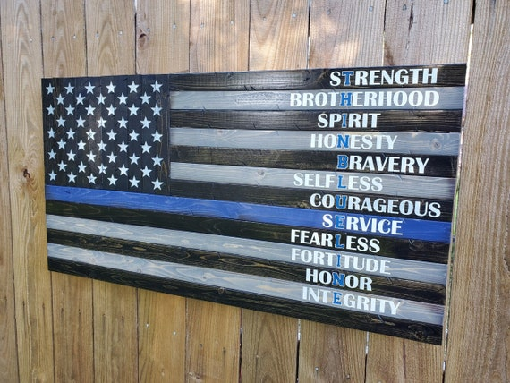 Thin Blue Line American Flag w/ LEO Character Traits/Meaning
