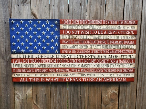 Wooden American Flag with American's Creed | American Flag Decor | USA Flag | Pallet Flag | Rustic American Flag | Old Glory