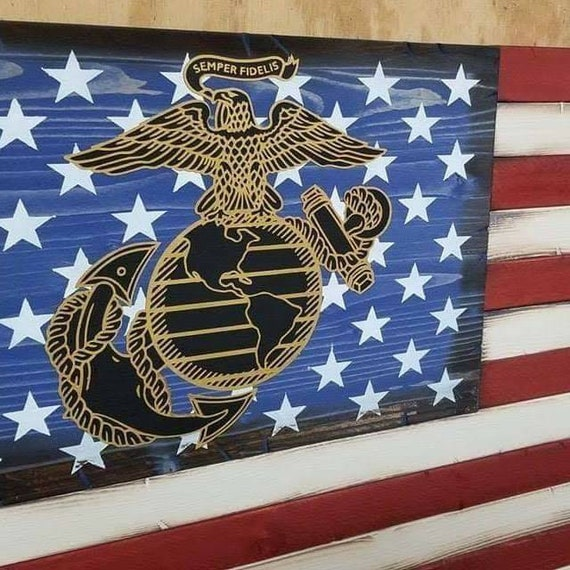 Wooden American Flag with Marines Emblem and Veteran's Creed | Gift for Veteran | Rustic American Flag | American Flag Wall Decor