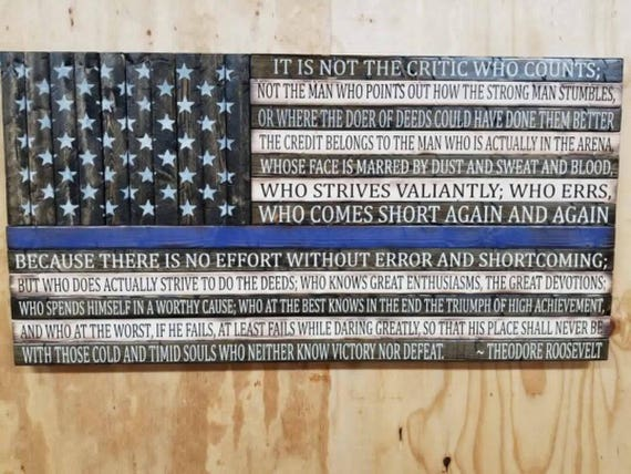 Wooden Rustic-Style American Flag w/Man in the Arena quote