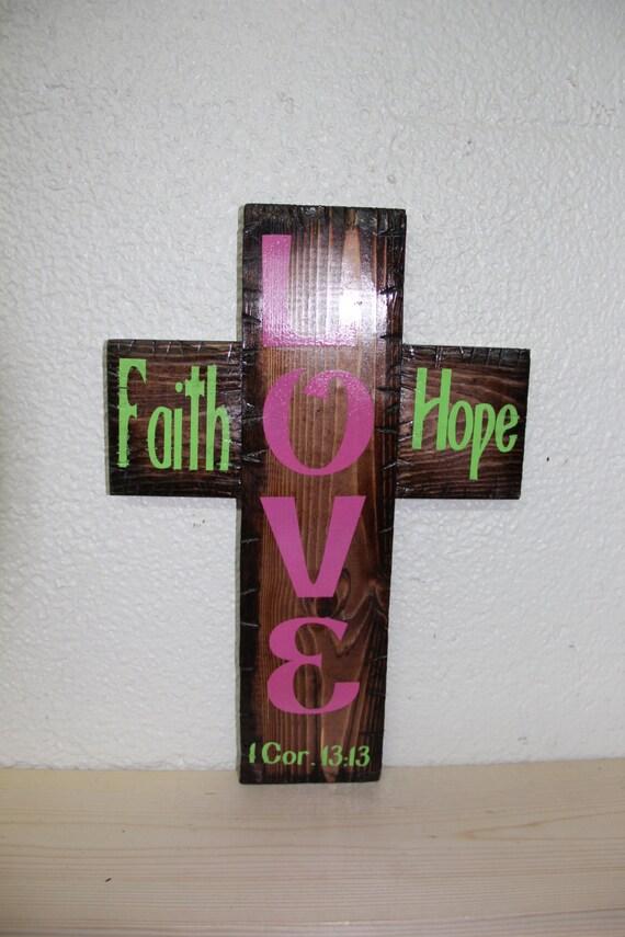 Faith Home Love Cross (red mahogany)