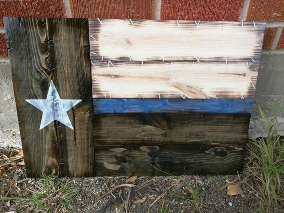 Small Thin Blue/Red Line Texas Flag