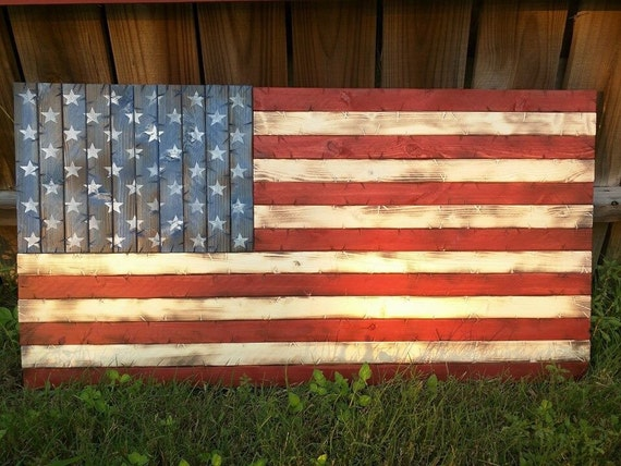 Handmade Rustic Wooden American Flag