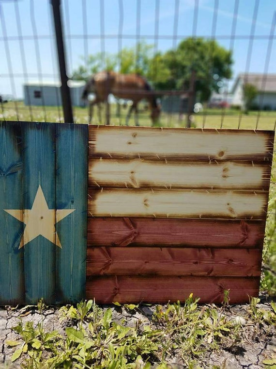 """Wooden Rustic """"Americana Style"""" Texas Flag"""