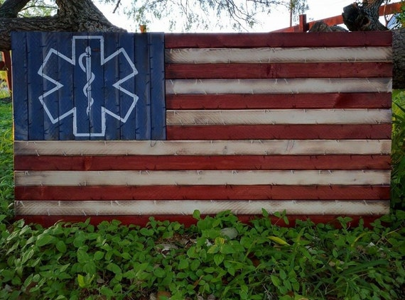 EMS Wooden Rustic American Flag